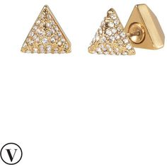 Stella & Dot Déjà Vu Double-Sided Studs ($39) ❤ liked on Polyvore featuring jewelry, earrings, pyramid earrings, stud earrings, double sided stud earrings, stella & dot jewelry and pave jewelry