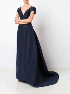 Carolina Herrera Indigo Blue Silk Ballgown in a Fitted Bodice with an Off-The-Shoulder Silhouette and a Deep V Neckline with Straps. The Waist is Slightly Dropped  into a Full Skirt that ends in a Short Train. This calls for Sapphires! I've got a Lacy Necklace, Earrings, Bracelet, Rings and Everything! Your Shoes are Navy Sandals and you carry a Lace Patterned Crystal Clutch (It's all on this board). This isn't the most Elaborate Gown, but it is the Grandest. - Gabrielle