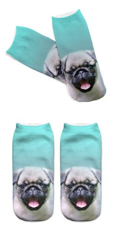 Hot 3D Printed Cotton Socks Pugs Dog Printed Casual Style 19cm Low Anklet Socks Unisex Calcetines Chaussettes