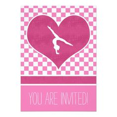 """Checkered gymnastics party invitation with a light pink and white design. A big hot pink heart has a gymnast silhouette inside! Use the custom text fields to add your party information. Use the """"customize it"""" button for more options (including different fonts and colors!)"""