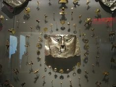 pre columbian mask and objects
