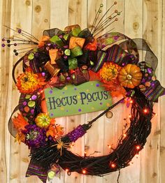 Hocus Pocus Witch Wreath Lighted Halloween Wreath Glitter broom Spider Witchy wreath Halloween Decor Holiday Housewares Fall decor on Etsy, $89.99