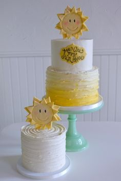 You Are My Sunshine Birthday Cake - Seattle Wedding Cake and Dessert Bars - The Sweet Side gallery