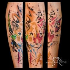 manoo stich tattoos, berlin www.stichpiraten.de #lioness #lionesstattoo #watercolor #watercolourtattoo