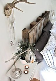 "Industrial, modern, rustic bedroom with wood pallet headboard."" data-componentType=""MODAL_PIN"