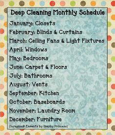 Deep Cleaning Monthly Schedule - don't think once a year is enough for some of these but I like the idea of scheduling.