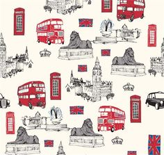 cream London symbols fabric Riley Blake British Invasion