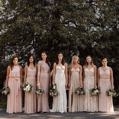 Different Bridesmaid Dresses, Dusty Pink Bridesmaid Dresses, Wedding Bridesmaids, Wedding Dresses, Dresses Dresses, Champagne Bridesmaids, Asos Bridesmaid Dress, Sparkly Bridesmaids, Mix Match Bridesmaids