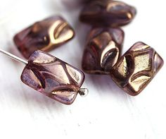 Puffed Rectangle Czech glass Beads  Lustrous purple by MayaHoney