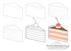 How to Draw a Cake Slice Step by Step - EasyLineDrawing Cake Drawing, Food Drawing, Doodle Drawings, Easy Drawings, Borders Bullet Journal, Thanksgiving Drawings, Doodle Cake, World Book Day Ideas, Cake Illustration
