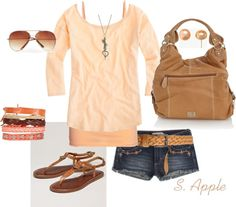 """Peach"" by sapple324 ❤ liked on Polyvore"