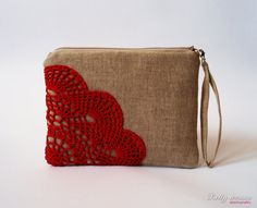 Organic cotton and linen clutch / Hand crocheted lace / Bridesmaid Clutch / Wedding Gift / Zippered Clutch / Red lace clutch / Unique bag