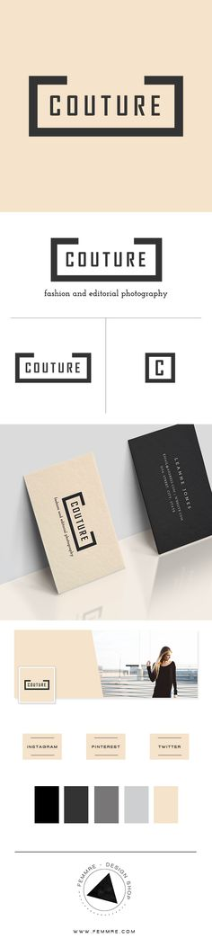 Couture Photographer Premade Brand Launch (sold only once) | FEMMRE - Chic Premade Branding | logo design, brand design, branding, premade brand, premade logo