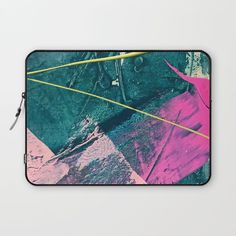 Wild [6]: a vibrant, bold, minimal abstract piece in teal, pink, and green Laptop Sleeve by blushingbrushstudio | Society6