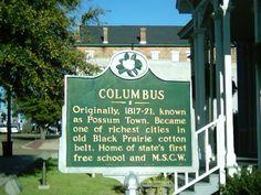 History marker of Columbus, MS