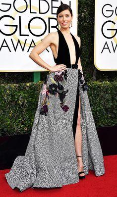 Golden Globes 2017: The Best Red Carpet Looks via @WhoWhatWear- Jessica Biel in Elie Saab