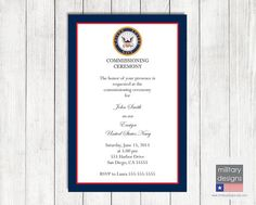 Navy Military Commissioning Ceremony Invitation, Military Ceremony Invitation, Military Invitation, Military Printable Invitation