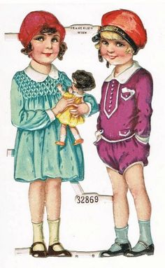 Embossed Die Cut with 2 Girls and Doll. Decorative, 1920s from curioshop on Ruby Lane