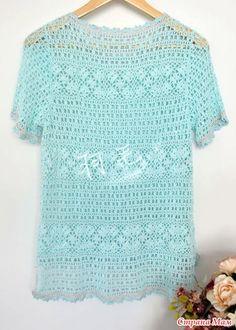 Ажурный пуловер с короткими рукавами крючком. Филе-мотивы.