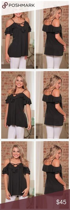 "Black cold shoulder ruffle tunic Black cold shoulder ruffle tunic. 75% modal 25% Polyester. BUST: S-20"", M-21"", L-22"". LENGTH: S-27"", M-28"", L-29"". New in bag. Infinity Raine Tops"