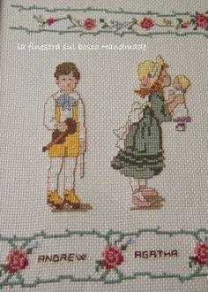 Punto croce, ricamo punto croce, quadro punto croce, Children cross stitch, filastrocca la donnina che semina il grano, volta la carta De Andrè