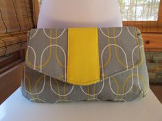 SALE  Grey/Yellow Clutch Makeup Bag by MontyandBonnie on Etsy, $15.00