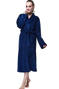 Bathrobe, Drowsy Cloud Soft Women Robe Plush Kimono Collar Bathrobe *** Review more details @…