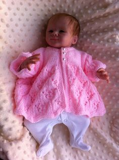 "Ravelry: Katie Matinee Jacket Knitting Pattern o fit 0-3 mth Baby or a Reborn 18-22 "" pattern by Crystal-Anne Smith"
