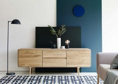 Fawn sideboard with Bowler lights Side Board, Contemporary Cabinets, Contemporary Furniture, Oak Sideboard, Credenza, Living Room Cabinets, Scandinavian Furniture, Cabinet Design, Storage Spaces