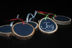 Made in Vermont Eco Tree Ring Circle Chalkboard Ornament or Holiday Gift Tag by podandbean, $8.25
