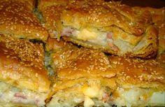 πατατοπιτα | 1 πακέτο σφολιάτα, πατάτες, μπέικον, κρεμμύδι, βούτυρο, κρέμα γάλακτος, τυριά, Λάδι, Σουσάμι