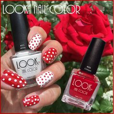 Show off your bubbly #personality with a fun new #LOOK !l#creative #nailcolor #lookpassiton #notd #rednails #dots