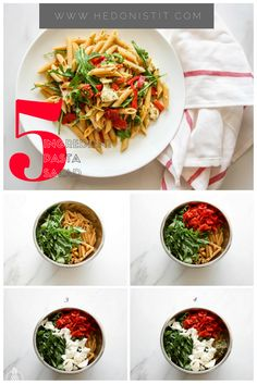 This great mediterranean pasta salad is easy, quick, healthy & tossed in yummy pesto sauce. It only take 5 ingredients to make it and it's loaded with arugula, grilled red peppers and delicious mozzarella cheese! This recipe is packed full of flavor you'll love to make this fresh pasta not only because it's delicious but because it's easy ;) Click through for the full fast recipe @ www.hedonistit.com >>
