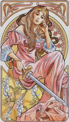 rainha de espadas (queen of swords) - art nouveau tarot
