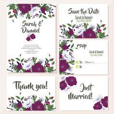 Симпатичные свадебные открытки с фиолетовыми цветами Бесплатные векторы