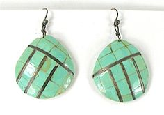 Turquoise Mosaic Clam Shell Earrings E509 American Indian Names, American Indian Jewelry, Shell Earrings, Wire Earrings, Vintage Earrings, Vintage Jewelry, Vintage Shops, Vintage Items, Matrix Color