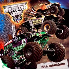 Monster Jam 2014 Wall Calendar | Trucks & 4WD | CALENDARS.COM - $11.95  Each month has a colorful, brilliant illustration of famous Monster Trucks in action. Contains 12 suitable for framing pictures: Grave Digger, Mohawk Warrior, Unbelievabull, Maximum Destruction, Grave Digger the Legend, Sun Of A Digger, Monster Mutt, Grinder, & More.... Great wall art for the car crushing fans!