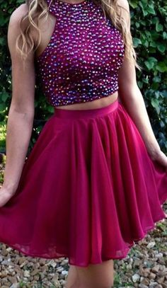 short Prom Dresses,two pieces burgundy short prom dress, two pieces homecoming dress by DestinyDress, $146.53 USD