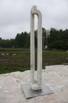 Marble Focal Point Abstract Contemporary Modern sculpture statue by artist Lyudmyla Mysko titled: 'Evolution (Modern abstract Contemporary Carved stone Figurine statuette)'