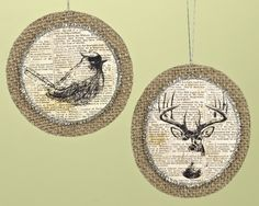 """24 Winter Woods Newspaper Print Bird and Moose Christmas Disk Ornaments 5"""""""