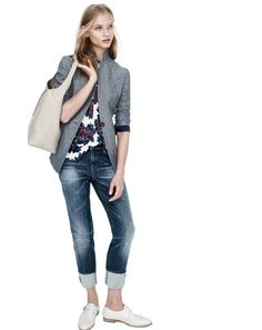 J.Crew women's Regent chambray blazer, sleeveless sequin firework floral top, slim broken-in boyfriend jean in michel wash, perforated monk-strap loafer in natural, and Downing hobo bag.