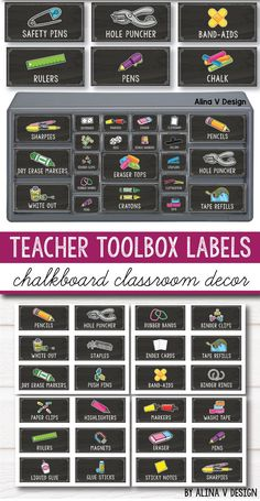 Teacher Toolbox Labels Editable & Chalkboard Classroom Decor theme perfect for kindergarten, fist grade and grades, plus the texts are editable. This set includes ideas and labels for your. Chalkboard Classroom, Classroom Labels, Chalkboard Labels, Classroom Organisation, New Classroom, Teacher Organization, Preschool Classroom, Classroom Libraries, Organized Teacher