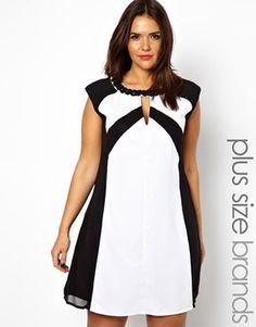 Little Mistress Monochrome Shift Dress   ASOS Curve