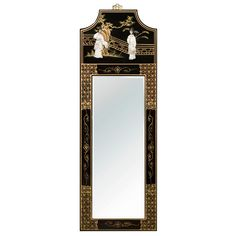 Black Lacquer Mother of Pearl Panel Oriental Mirror Oriental Decor, Oriental Furniture, Chinese Courtyard, Floor Screen, Dancing Figures, Courtyard Design, Jewelry Chest, Metal Trays, Beveled Mirror