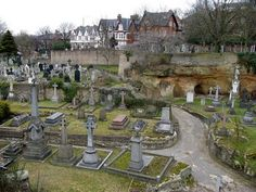 I like to visit historic cemeteries when I am traveling (this one is in Nottingham. Old Cemeteries, Graveyards, Nottingham Caves, Spooky Places, Danse Macabre, Cemetery Art, Catacombs, Dark Places, Vintage Photographs