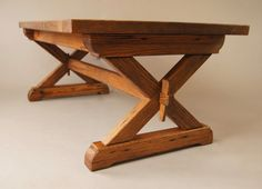 Large Trestle Style Solid Oak Coffee Table by OakGroveWoodworks