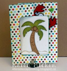 Karen Aicken using the Pop it Ups Rectangle Pull Card, Rocky the Crab, Palm Tree & Pail and Props 2 die sets by Karen Burniston for Elizabeth Craft Designs. - Altered Scrapbooking: Rectangle Pull Card - Rocky