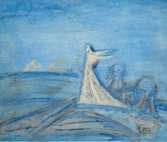 'Angel and Landscape' (study) by Cecil Collins, 1983