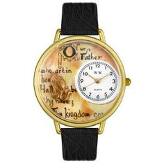 Lord's Prayer Black Skin Leather And Goldtone Watch #G0710011 - http://www.artistic-watches.com/2012/12/02/lords-prayer-black-skin-leather-and-goldtone-watch-g0710011-2/