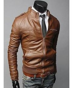 Men's Biker Style Faux Leather Jacket. Best selling motorcycle ...